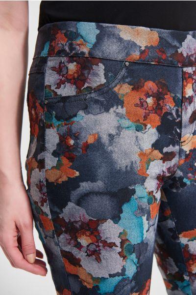 Joseph Ribkoff Charcoal/Multi Floral Motif Jeans Style 213997