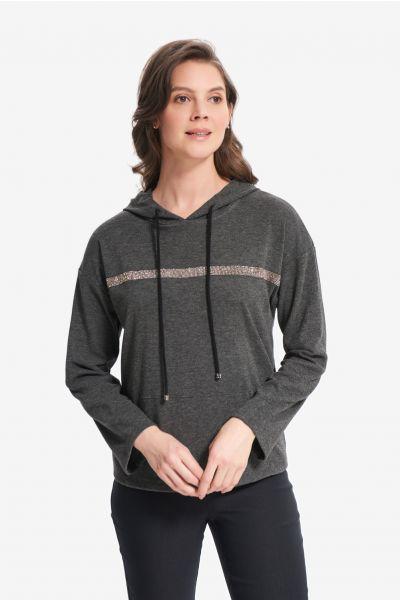 Joseph Ribkoff Charcoal/Black Dolman Sleeve Hoodie Style 214100