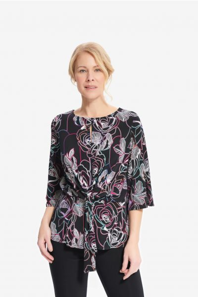 Joseph Ribkoff Black/Multi Floral Print Top Style 214122