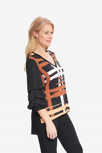 Joseph Ribkoff Black/Multi Woven Tunic Style 214129 - main