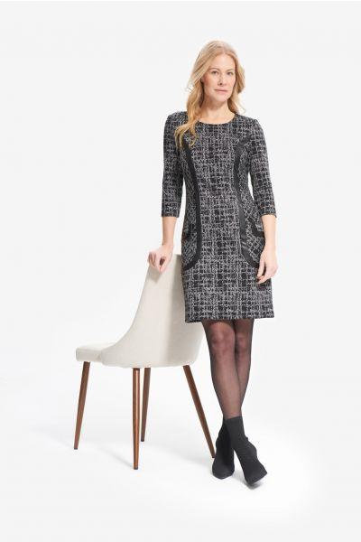 Joseph Ribkoff Black/Grey 3/4 Sleeve Printed Dress Style 214152