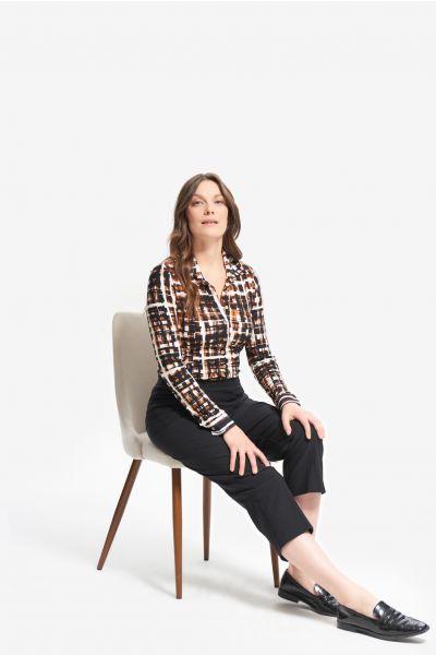 Joseph Ribkoff Black/Multi Check Print Blouse Style 214162