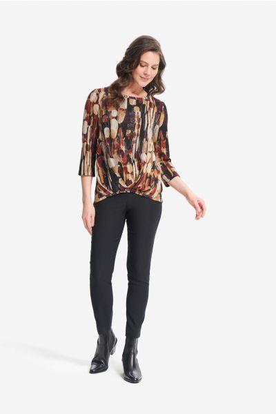 Joseph Ribkoff Black/Multi Abstract Print Knit Top Style 214164