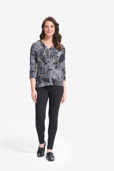 Joseph Ribkoff Black/Grey 3/4 Sleeve Printed Top Style 214177