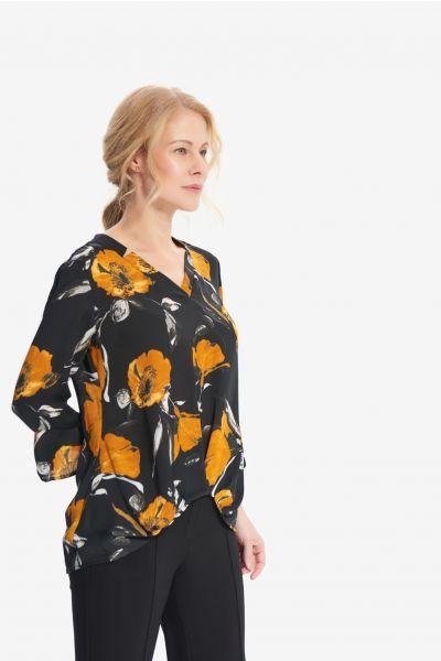 Joseph Ribkoff Black/Multi Floral Print Top Style 214182