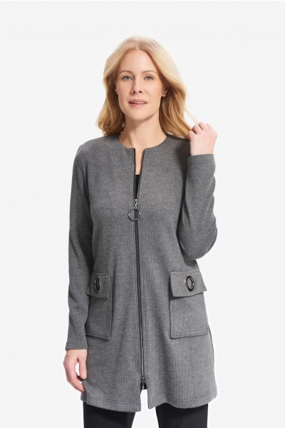 Joseph Ribkoff Grey Melange/BlackEyelet Detail Jacket  Style 214188