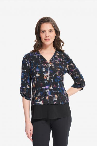 Joseph Ribkoff Black/Multi Abstract Knit Top Style 214198