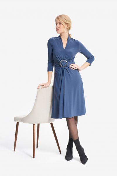 Joseph Ribkoff Mineral Blue Gathered Front Dress Style 214211