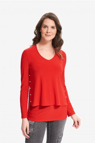 Joseph Ribkoff Lipstick Red Embellished Side Top Style 214224