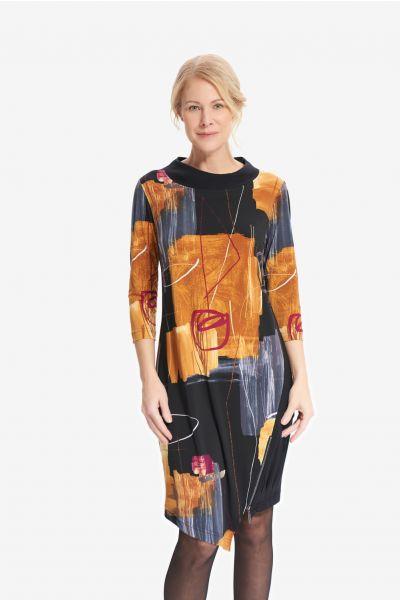 Joseph Ribkoff Black/Multi Abstract Asymmetric Dress Style 214226
