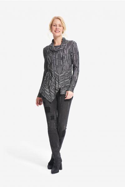 Joseph Ribkoff Black/Grey Abstract Knit Top Style 214231