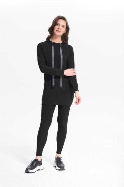 Joseph Ribkoff Rhinestone Black Long Sweatshirt Style 214232