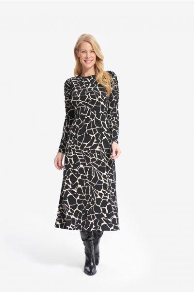 Joseph Ribkoff Black/Beige Animal Print Dress Style 214237