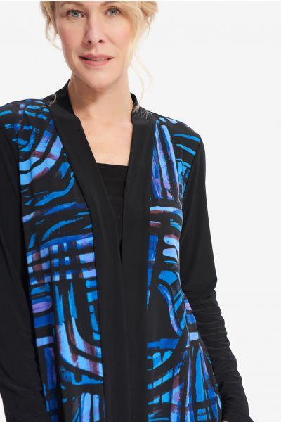 Joseph Ribkoff Black/Blue Abstract Print Sweater Style 214240