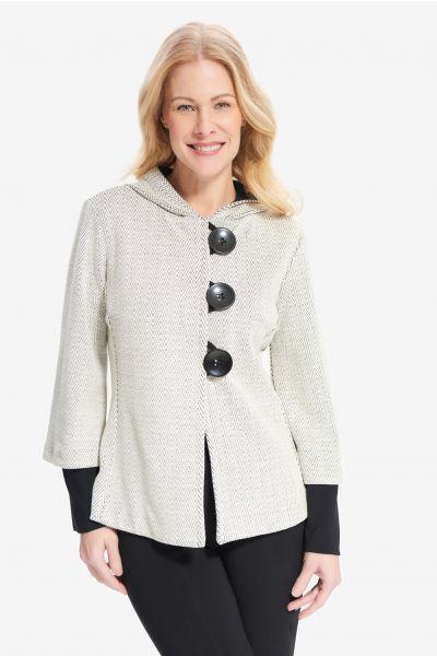 Joseph Ribkoff Cream/Black Knit Button-up Blazer Style 214252