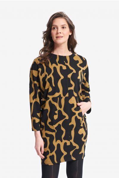 Joseph Ribkoff Black/Mustard Abstract Printed Dress Style 214282