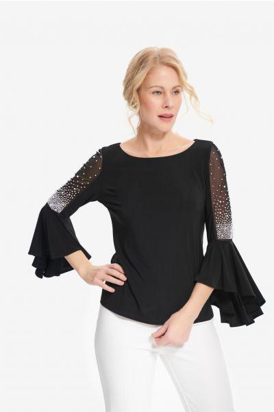 Joseph Ribkoff Black Embellished Top Style 214283