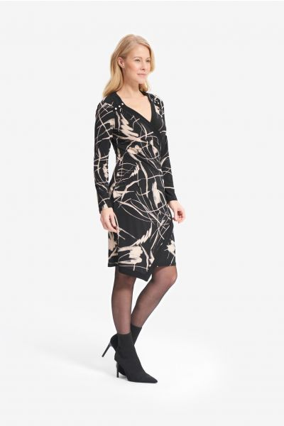 Joseph Ribkoff Black/Sand Wrap Front Dress Style 214290