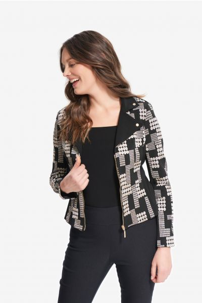 Joseph Ribkoff Black/Multi Printed Jacquard Jacket Style 214293