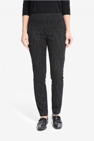 Joseph Ribkoff Black/Multi Embellished Pants Style 214297
