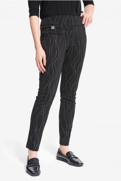Joseph Ribkoff Black/Silver Embellished Pants Style 214297