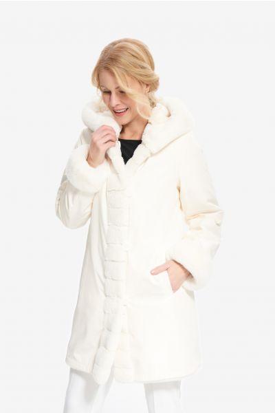 Joseph Ribkoff Faux Fur Vanilla Coat Style 214913