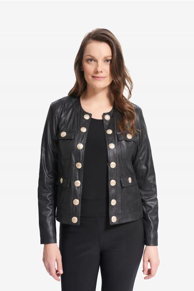 Joseph Ribkoff Faux Leather Cropped Jacket Style 214926 - main