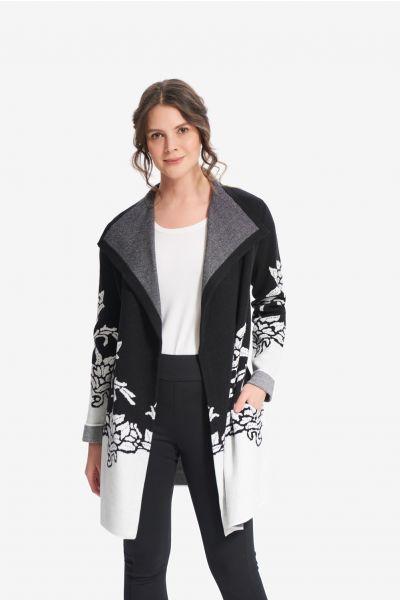 Joseph Ribkoff Black/Vanilla Floral Jacquard Cover-Up Style 214927
