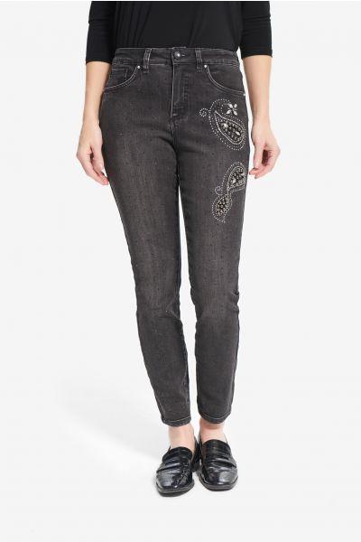 Joseph Ribkoff Charcoal/Dark Grey Rhinestone & Rivet Jeans Style 214929
