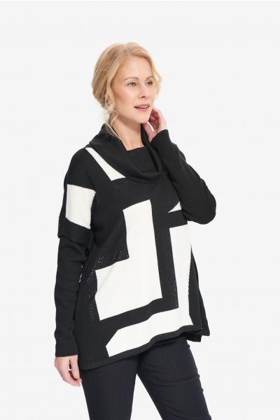 Joseph Ribkoff Black/Vanilla Geometric Jacquard Sweater Style 214930