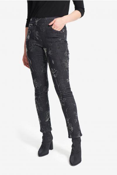 Joseph Ribkoff Charcoal/Dark Grey Floral Print Pants Style 214948