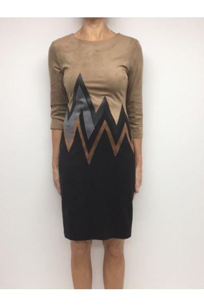 Joseph Ribkoff Beige/Black/Cognac/Silver Dress Style 164445X