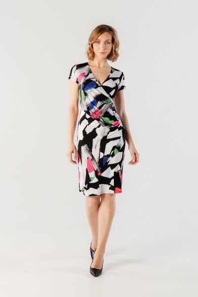 Joseph Ribkoff Black/White/Multi Dress Style 212311 - main