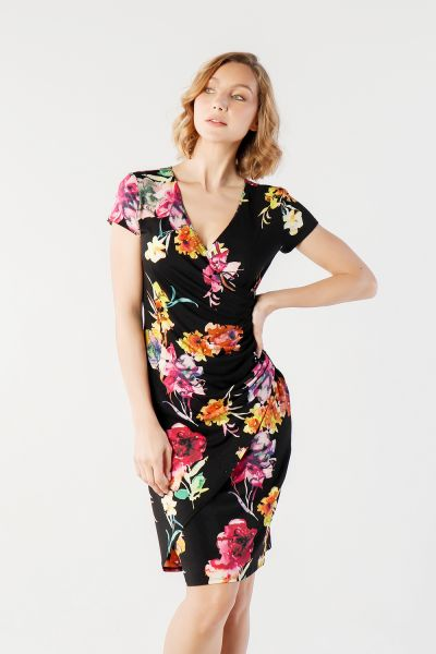 Joseph Ribkoff Black/Multi Dress Style 212311 - main