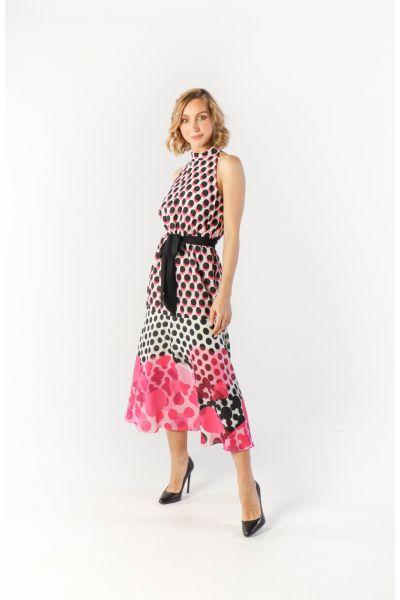 Joseph Ribkoff Black/White/Pink Sleeveless Polka Dot Dress Style 212210