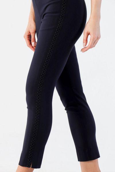 Joseph Ribkoff Navy Embroidered Trim Pant Style 211241 - 1