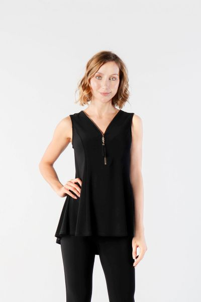 Joseph Ribkoff Black Zip Detail Sleeveless Top Style 211116 -1