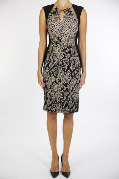 Joseph Ribkoff Dress Black/Tan/Gold Style 163765